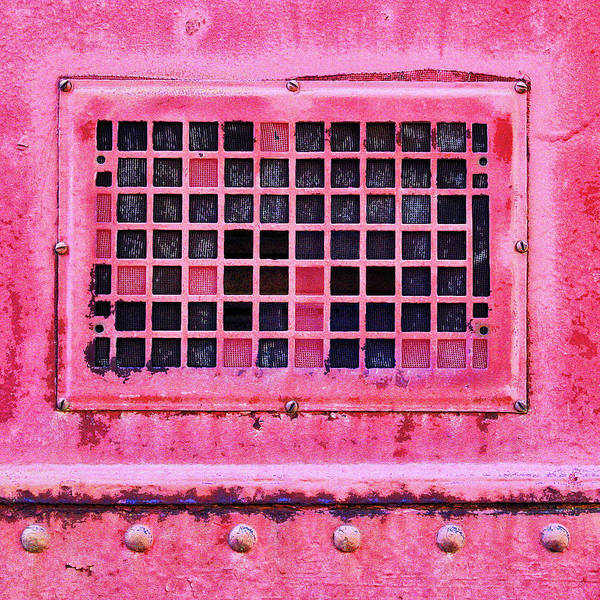 Wall Art - Mixed Media - Deep Pink Train Engine Vent Square Format by Carol Leigh