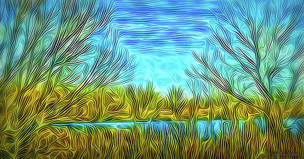 Digital Art - Deep Pond Vibrations by Joel Bruce Wallach