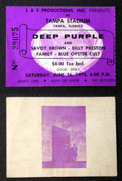 Blue Oyster Cult Wall Art - Pyrography - Deep Purple 1973 Concert Ticket by David Lee Thompson