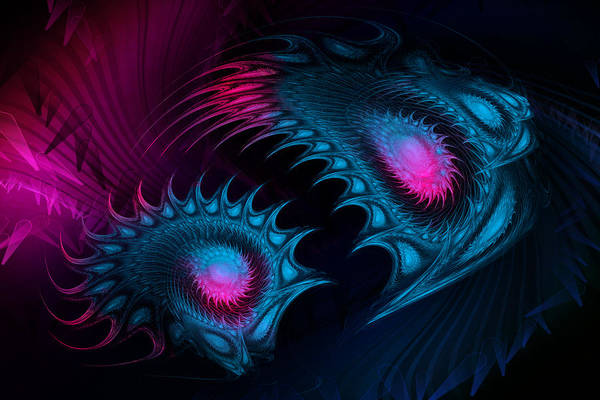 Wall Art - Digital Art - Deep-sea Bioluminescence. Fractal Abstract Fantasy. by Artly Studio