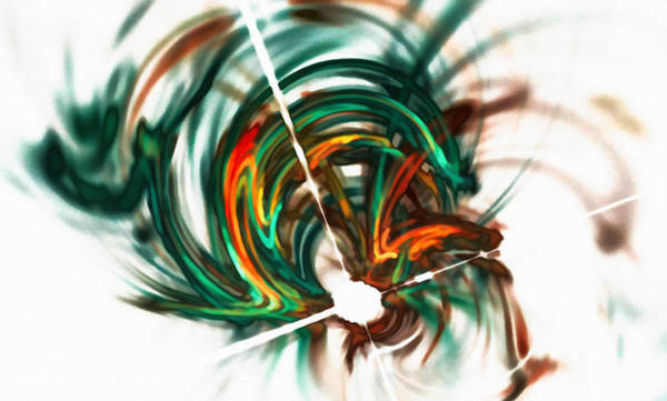 Digital Art - Deep Space Abstract Orange Green by Don Northup