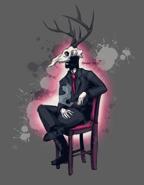 Wall Art - Drawing - Deer Daddy Series 2 Miss Me by Ludwig Van Bacon