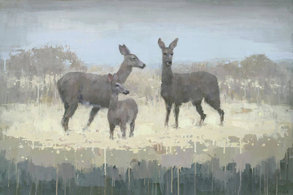 Wall Art - Painting - Deer Family In A Field Of Yellow by Steve Mitchell