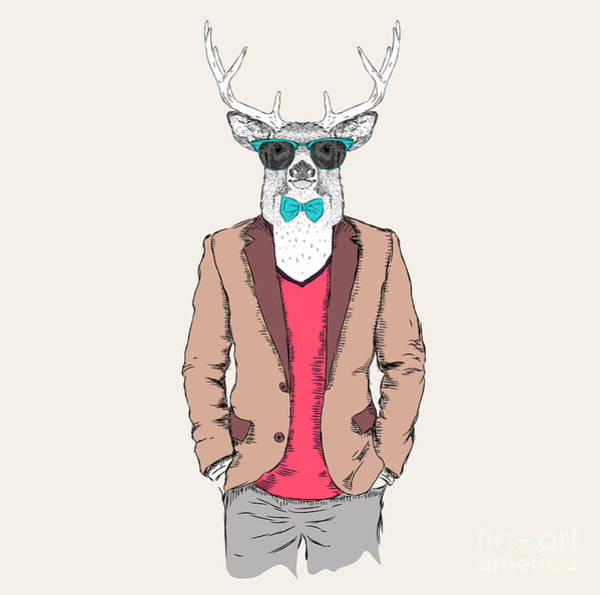 Wall Art - Digital Art - Deer Hipster Dressed Up In Jacket by Sunny Whale