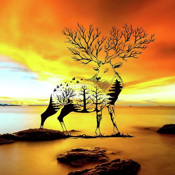 Negative Space Digital Art - Deer In Negative Space by Kedadria Abdeslam