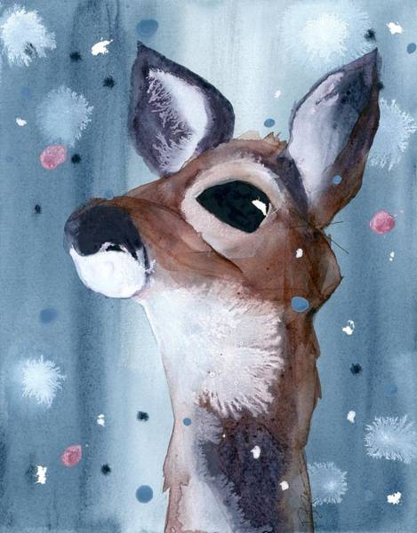 Painting - Deer In The Evening Snow by Dawn Derman