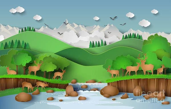 Wall Art - Digital Art - Deer In The Forest With A by Keng  Merry Paper Art