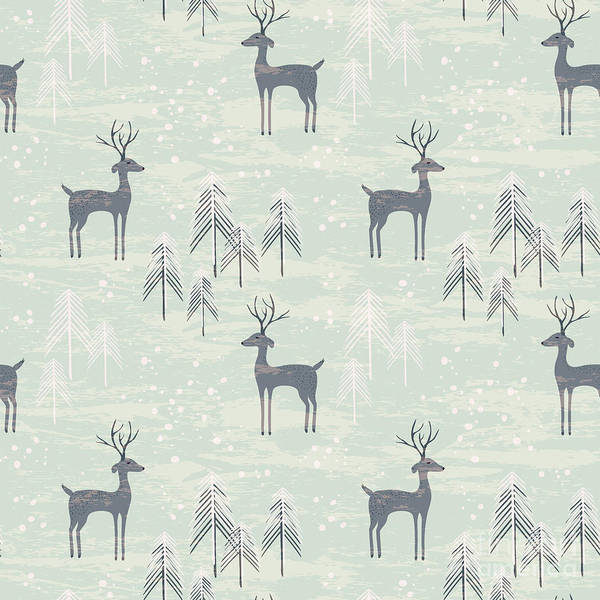 Reindeer Wall Art - Digital Art - Deer In Winter Pine Forest. Seamless by Lidiebug