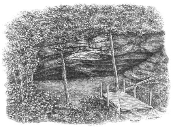 Drawing - Deer Lick Cave - Cleveland Metroparks by Kelli Swan