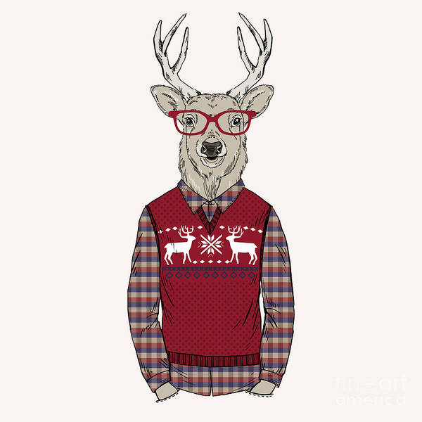 Wall Art - Digital Art - Deer Man Dressed Up In Jacquard by Olga angelloz