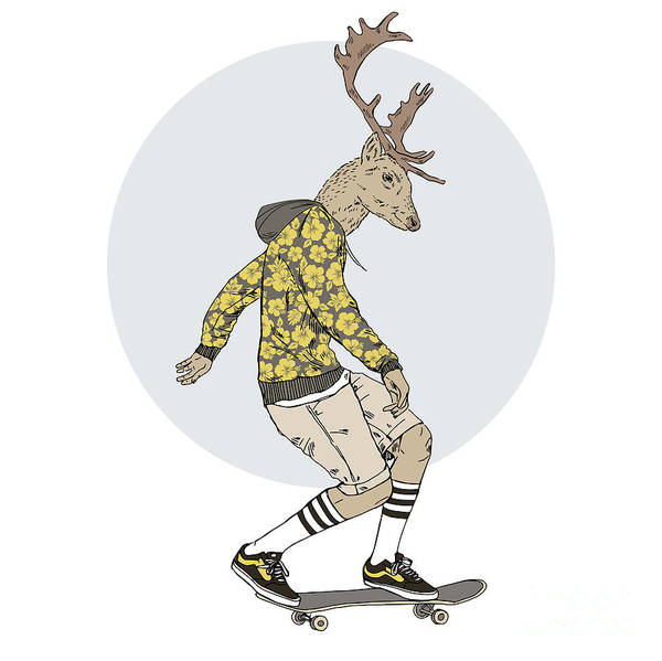 Classy Wall Art - Digital Art - Deer Man On Skateboard, Furry Art by Olga angelloz