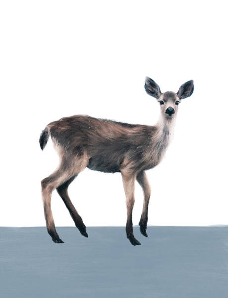 Wall Art - Painting - Deer On Slate Blue by Amy Hamilton