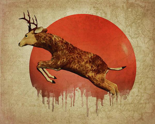 Digital Art - Deer Running by Jan Keteleer