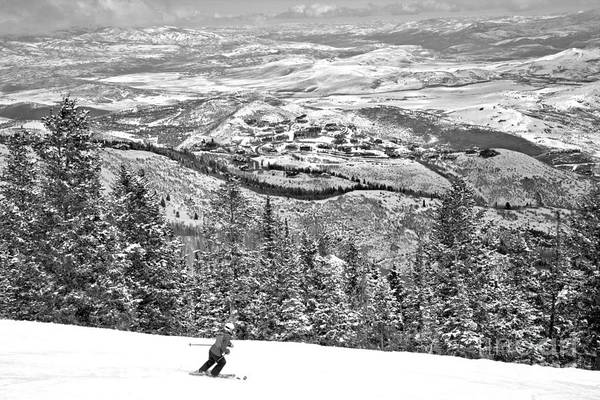 Photograph - Deer Valley Skier Black And White by Adam Jewell