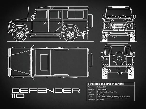 Photograph - Defender 110 Blueprint Black by Mark Rogan