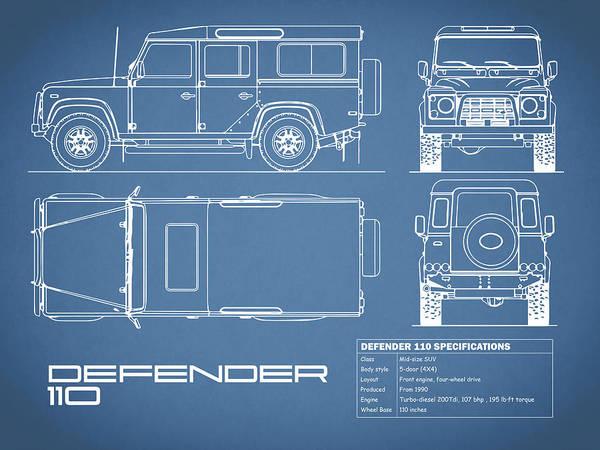 Photograph - Defender 110 Blueprint by Mark Rogan