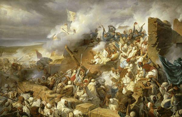 Wall Art - Painting - Defense De Mazagran, 1840 by Felix Philippoteaux