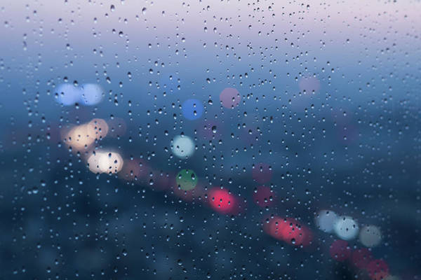 Defocused Lights And Water Droplets On Art Print