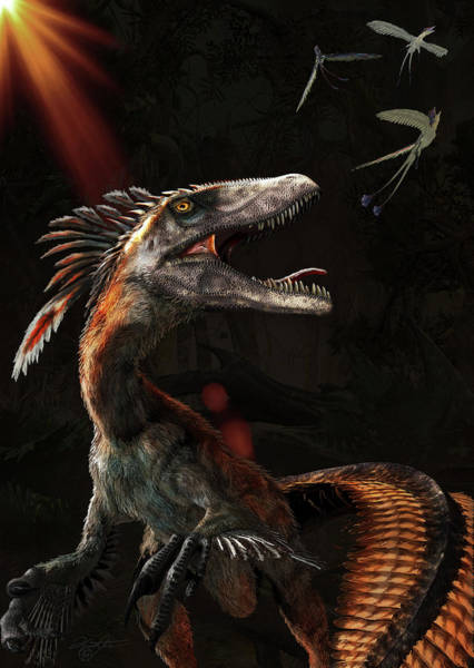 Photograph - Deinonychus Dinosaur Chasing Tiny by Kurt Miller