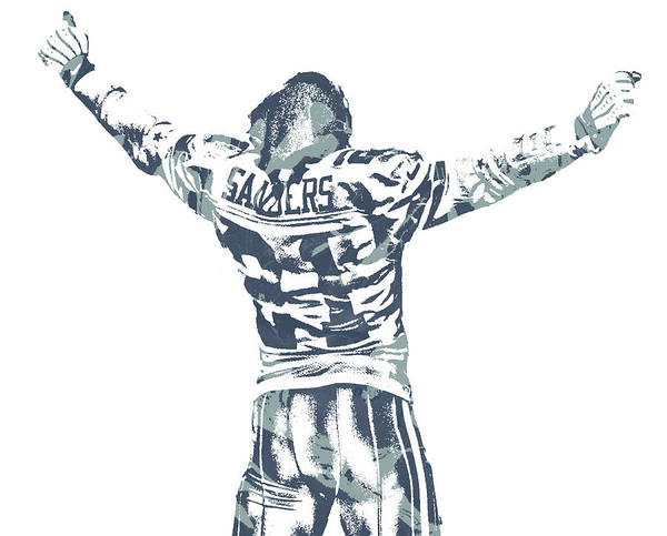 Wall Art - Mixed Media - Deion Sanders Dallas Cowboys  Pixel Art 1 by Joe Hamilton