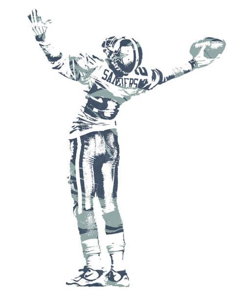 Wall Art - Mixed Media - Deion Sanders Dallas Cowboys  Pixel Art 4 by Joe Hamilton