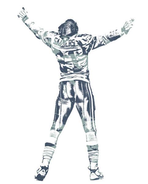 Wall Art - Mixed Media - Deion Sanders Dallas Cowboys  Pixel Art 6 by Joe Hamilton