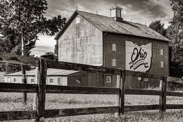 Photograph - Delaware County Bicentennial Barn - Ohio - Sepia by Gregory Ballos