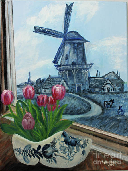 Dutch Tulip Painting - Delft Days by Lyric Lucas