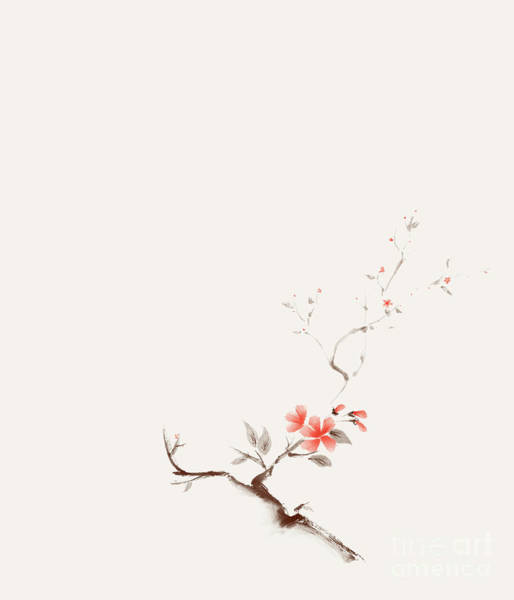 Blooming Tree Mixed Media - Delicate Minimalistic Brown Sakura Branch With Coral Red Flowers by Awen Fine Art Prints