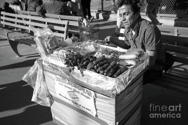 Photograph - Delicious All Meat Hot Dog Street Food Vendor Dsc6799bw by Wingsdomain Art and Photography