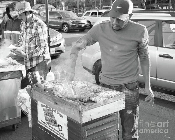 Photograph - Delicious All Meat Hot Dog Street Food Vendor Dsc6889bw by Wingsdomain Art and Photography
