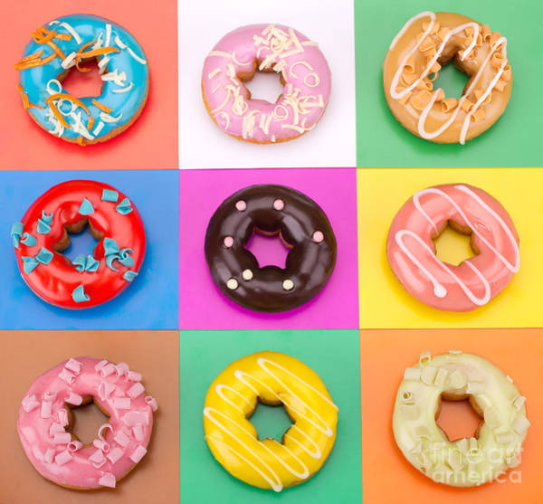 Wall Art - Photograph - Delicious Donuts Isolated On Colorful by Em Arts