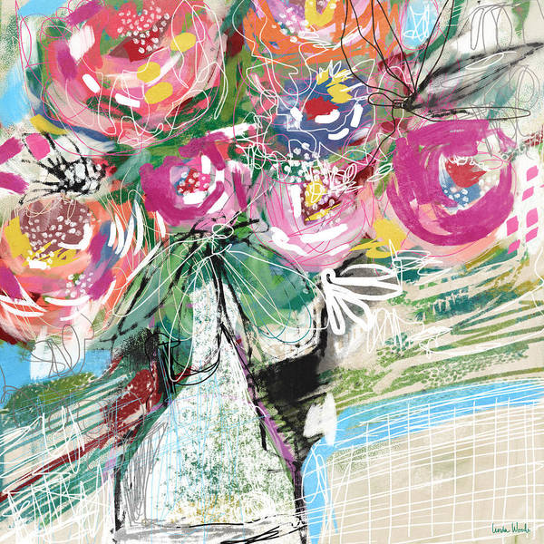 Wall Art - Mixed Media - Delightful Bouquet 3- Art By Linda Woods by Linda Woods