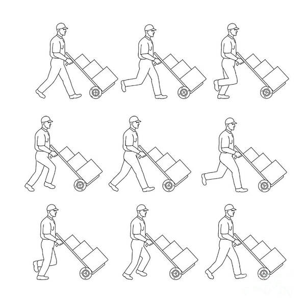 Wall Art - Digital Art - Delivery Worker Pushing Hand Cart Walk Sequence Drawing by Aloysius Patrimonio