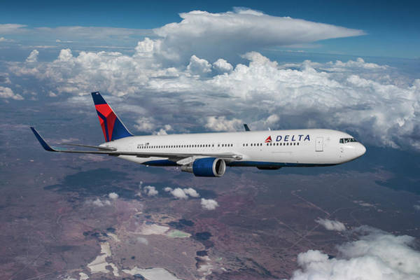 Delta Mixed Media - Delta Airlines Boeing 767 by Erik Simonsen