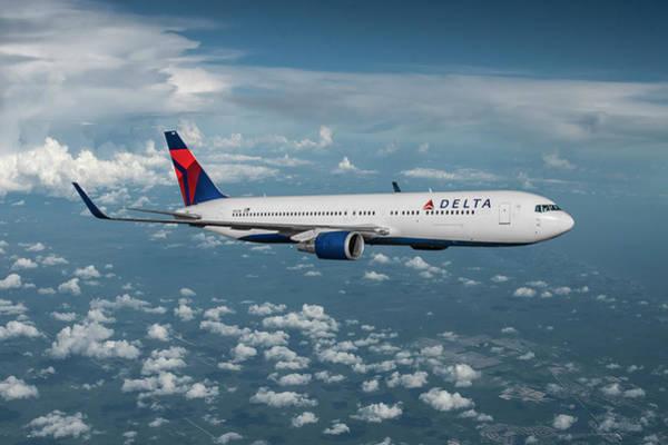 Delta Mixed Media - Delta Extended Range Boeing 767 by Erik Simonsen