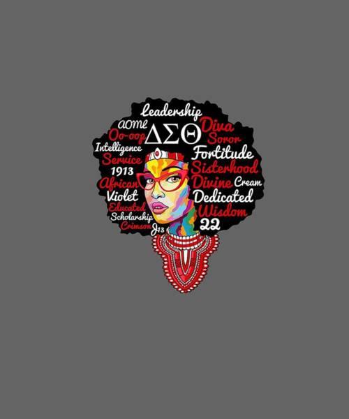 Wall Art - Digital Art - Delta Sorority Natural Hair Woman Sigma Theta Paraphernal by Unique Tees