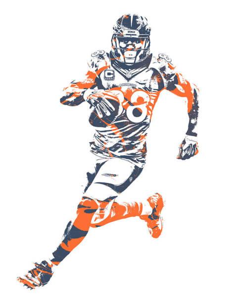 Wall Art - Mixed Media - Demaryius Thomas Denver Broncos Pixel Art 40 by Joe Hamilton