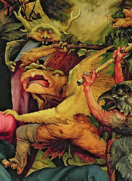 Wall Art - Painting - Demons Armed With Sticks, Detail From The Reverse Of The Isenheim Altarpiece by Matthias Grunewald