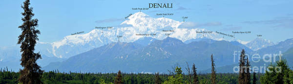 Wall Art - Digital Art - Denali With Peak Names And Evelation Guide by Eva Kaufman