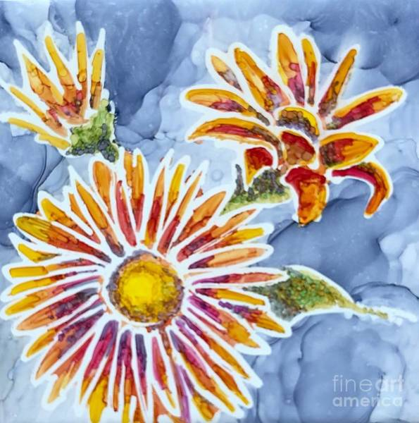 Painting - Denim Asters by Lisa DuBois