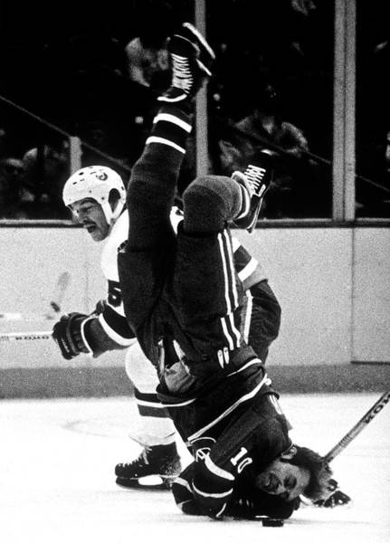 Sport Venue Photograph - Denis Potvin Hits Guy Lafleur On The Ice by B Bennett