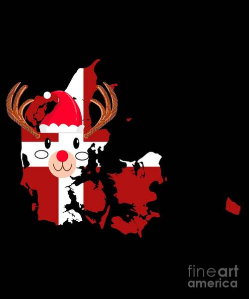Ugly Digital Art - Denmark Christmas Hat Antler Red Nose Reindeer by TeeQueen2603