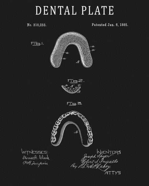 Drawing - Dental Plate Patent by Dan Sproul