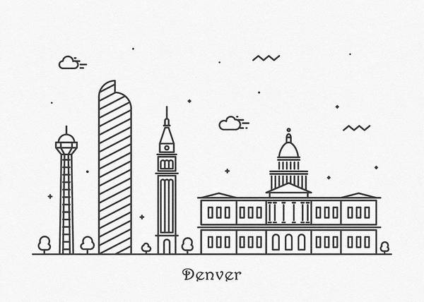 Wall Art - Drawing - Denver Cityscape Travel Poster by Inspirowl Design