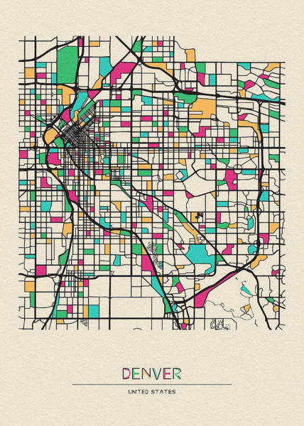 Wall Art - Drawing - Denver, Colorado City Map by Inspirowl Design