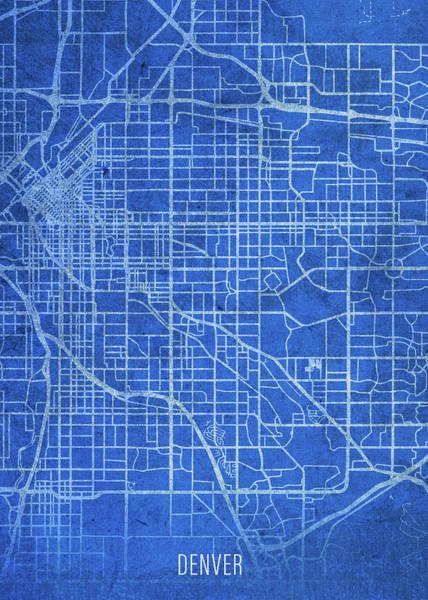 Wall Art - Mixed Media - Denver Colorado City Street Map Blueprints by Design Turnpike