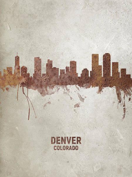 Wall Art - Digital Art - Denver Colorado Rust Skyline by Michael Tompsett