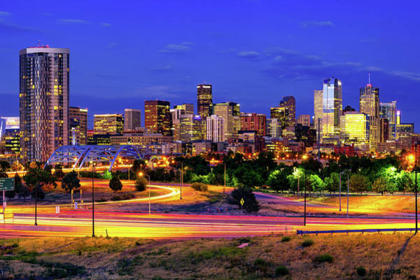 Photograph - Denver Colorful Skyline At Dawn by Gregory Ballos