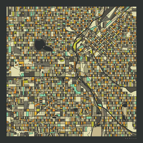 Colorado Digital Art - Denver Map 2 by Jazzberry Blue